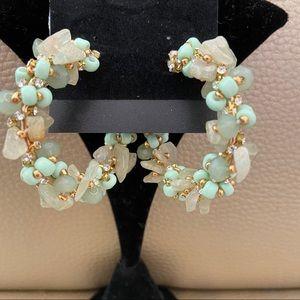 Green gold crushed Rock earrings